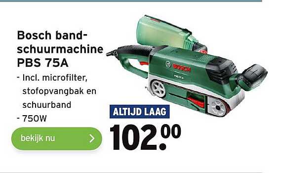 Gamma Bosch Bandschuurmachine PBS 75A Incl. Microfilter, Stofopvangbak En Schuurband