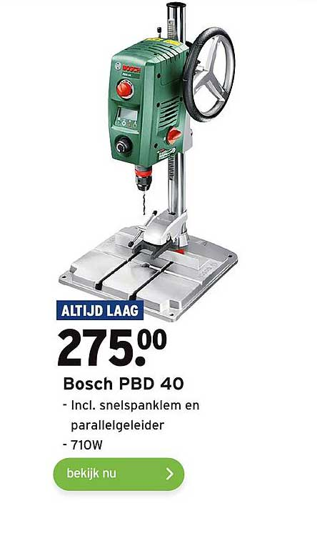 Gamma Bosch PBD 40 Incl. Snelspanklem En Parallelgeleider