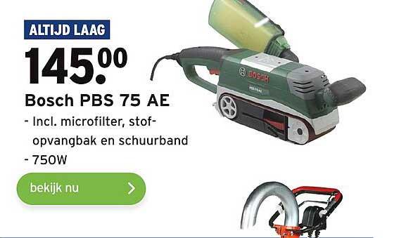 Gamma Bosch PBS 75 AE Incl. Microfilter, Stofopvangbak En Schuurband