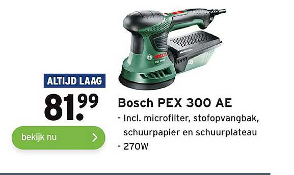 Gamma Bosch PEX 300 AE Incl. Microfilter, Stofopvangbak, Schuurpapier En Schuurplateau