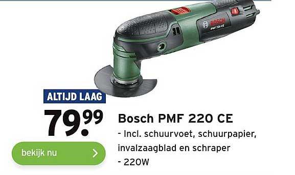 Gamma Bosch PMF 220CE Incl. Schuurvoer, Schuurpapier, Invalzaagblad En Schraper