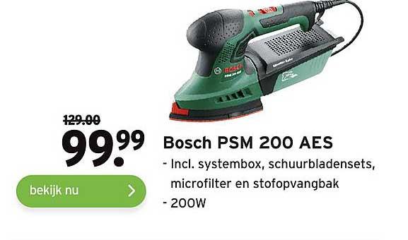 Gamma Bosch PSM 200 AES Incl. Systembox, Schuurbladensets, Microfilter En Stofopvangbak