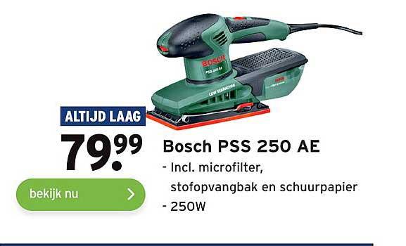 Gamma Bosch PSS 250 AE Incl. Microfilter, Stofopvangbak En Schuurpapier