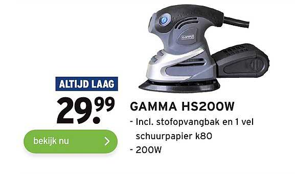 Gamma Gamma HS200W Incl. Stofopvangbak En 1 Vel Schuurpapier K80