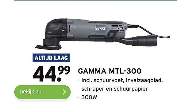 Gamma Gamma MTL-300 Incl. Schuurvoet, Invalzaagblad, Schraper En Schuurpapier