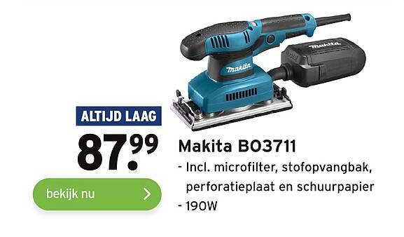 Gamma Makita B03711 Incl. Microfilter, Stofopvangbak, Perforatieplaat En Schuurpapier