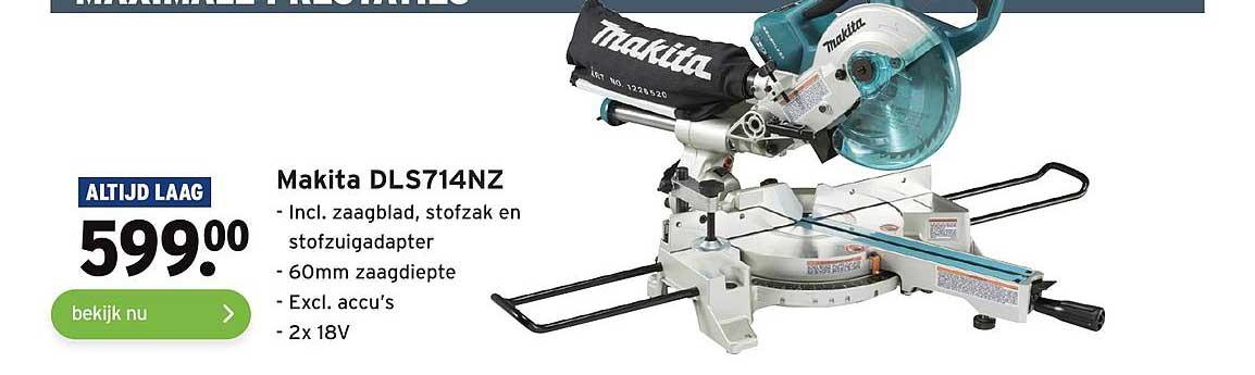Gamma Makita DLS714NZ Incl. Zaagblad, Stofzak En Stofzuigadapter