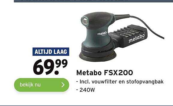 Gamma Metabo FSX200 Incl. Vouwfilter En Stofopvangbak