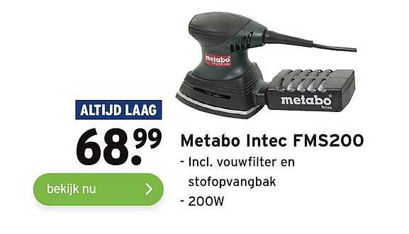 Gamma Metabo Intec FMS200 Incl. Vouwfilter En Stofopvangbak