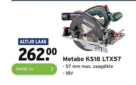 Gamma Metabo KS18 LTX57 57mm Max. Zaagdikte