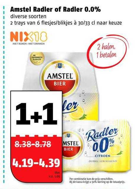 Poiesz Amstel Radler Of Radler 0.0% 1+1 Gratis