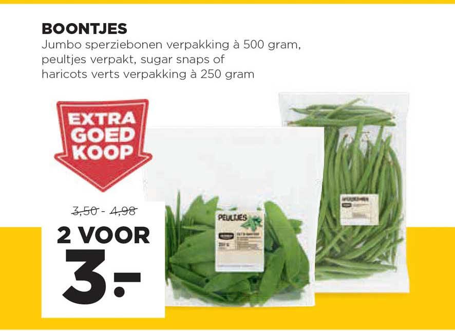 Jumbo Boontjes Jumbor Sperziebonen, Peultjes, Sugar Snaps Of Haricots Verts