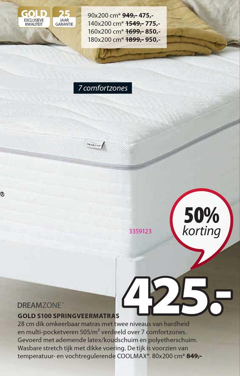 Jysk Dreamzone Gold S100 Springveermatras 50% Korting