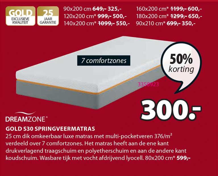 Jysk Dreamzone Gold S30 Springveermatras 50% Korting