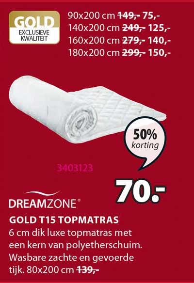 Jysk Dreamzone Gold T15 Topmatras 50% Korting