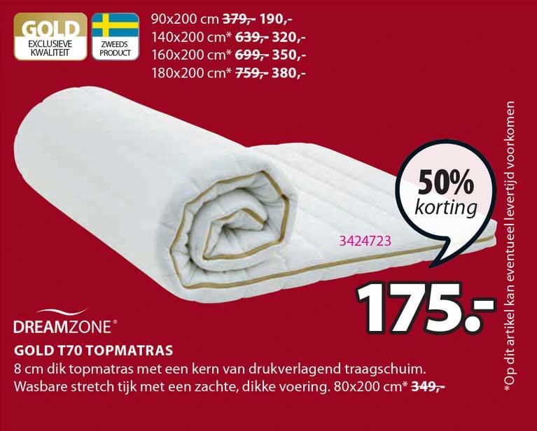 Jysk Dreamzone Gold T70 Topmatras 50% Korting