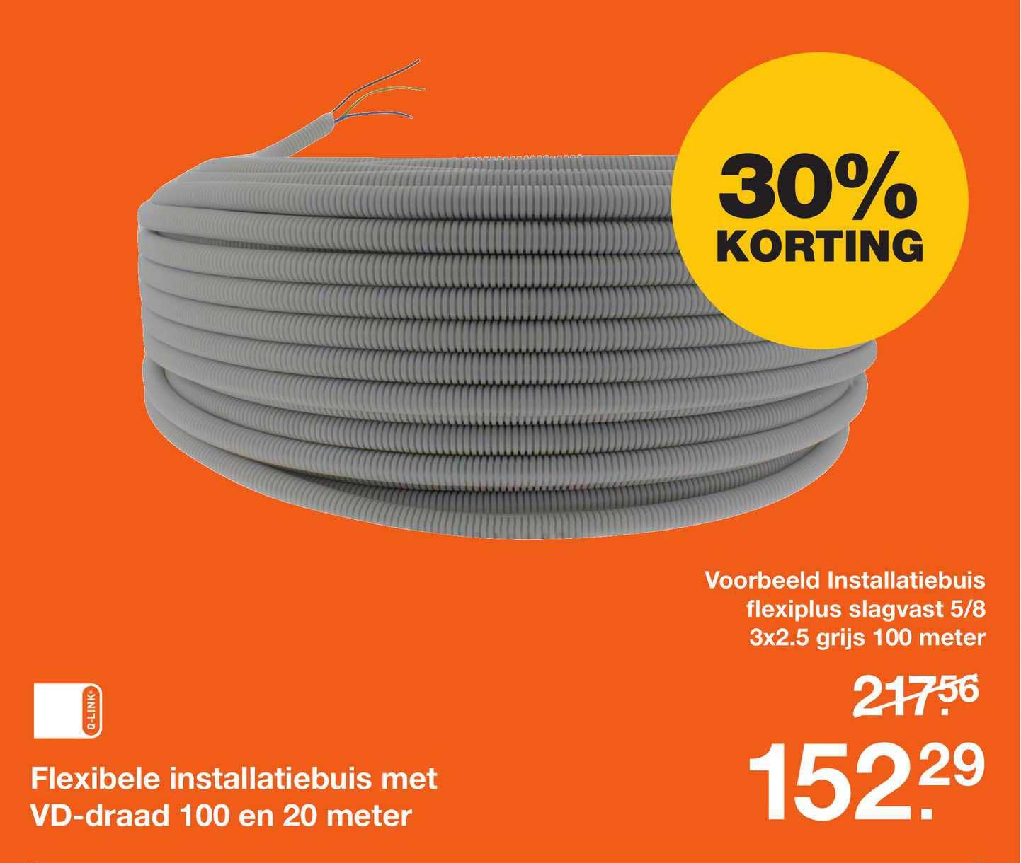 Bouwmaat Flexibele Installatiebuis Met VD-Draad 100 En 20 Meter 30% Korting
