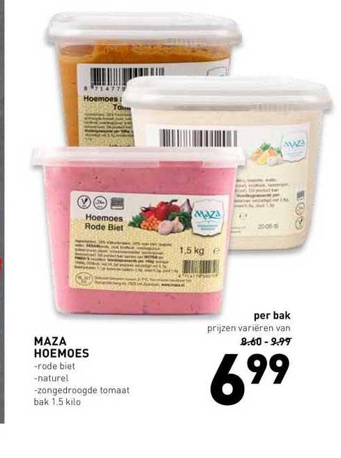 De Kweker Maza Hoemoes Rode Biet, Naturel Of Zongedroogde Tomaat