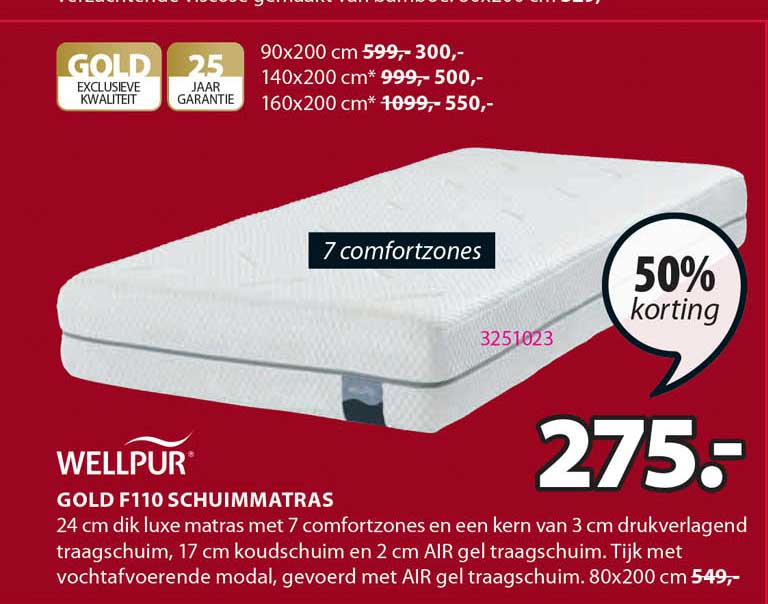 Jysk Wellpur Gold F110 Schuimmatras 50% Korting
