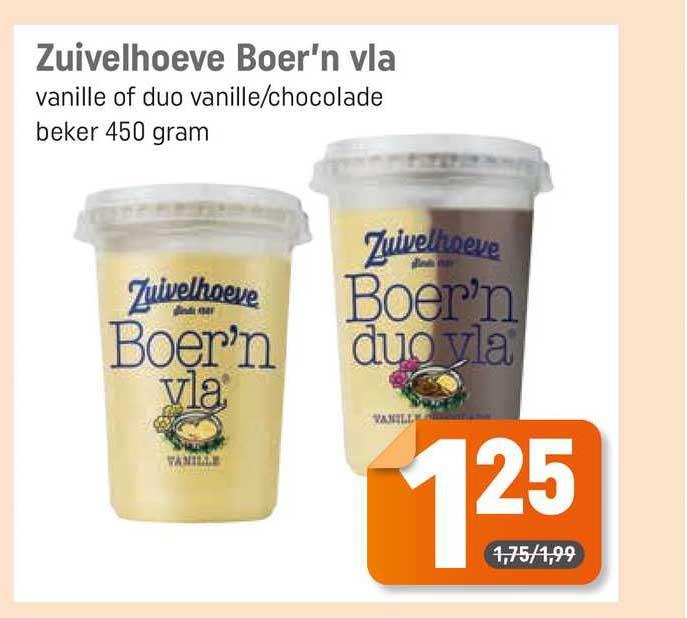 Dagwinkel Zuivelhoeve Boer'n Vla Vanille Of Duo Vanille-Chocolade