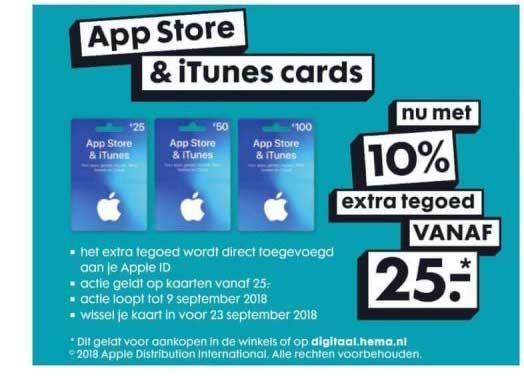 HEMA App Store & Itunes Cards: Nu Met 10% Extra Tegoed Vanaf €25,-*
