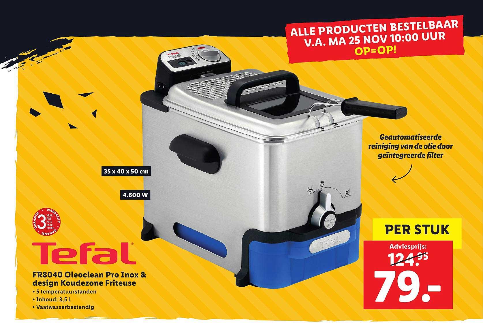 Lidl Shop Tefal FR8040 Oleoclean Pro Inox & Design Koudezone Friteuse