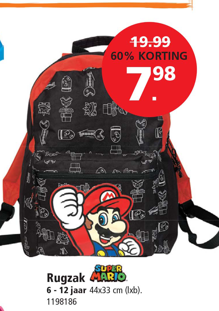 Intertoys Super Mario Rugzak: 60% Korting