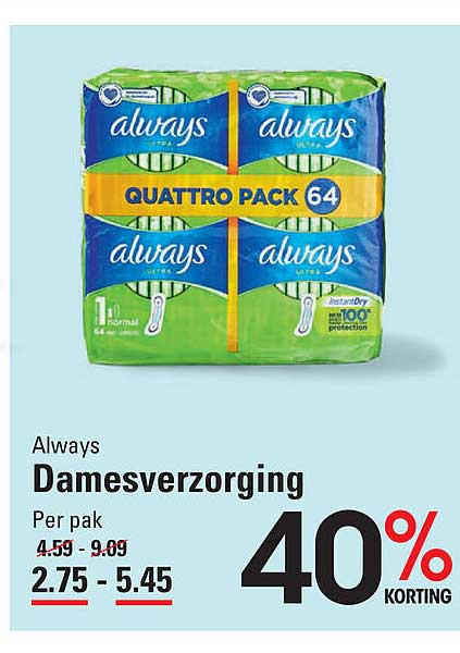 Sligro Always Damesverzorging 40% Korting