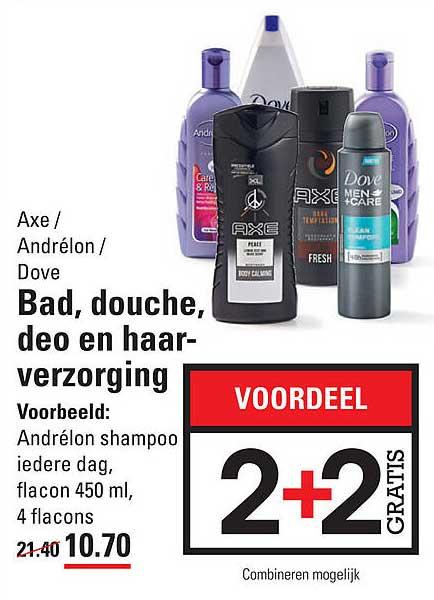 Sligro Axe - Andrélon - Dove Bad, Douche, Deo En Haarverzorging 2+2 Gratis