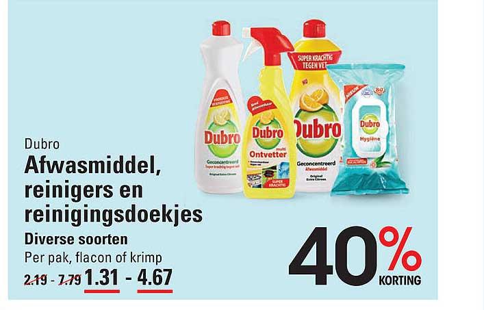 Sligro Dubro Afwasmiddel, Reinigers En Reinigingsdoekjes 40% Korting