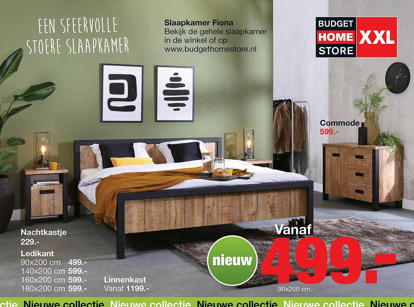 Budget Home Store Slaapkamer Fiona Nachtkastje, Ledikant, Linnenkast, Commode