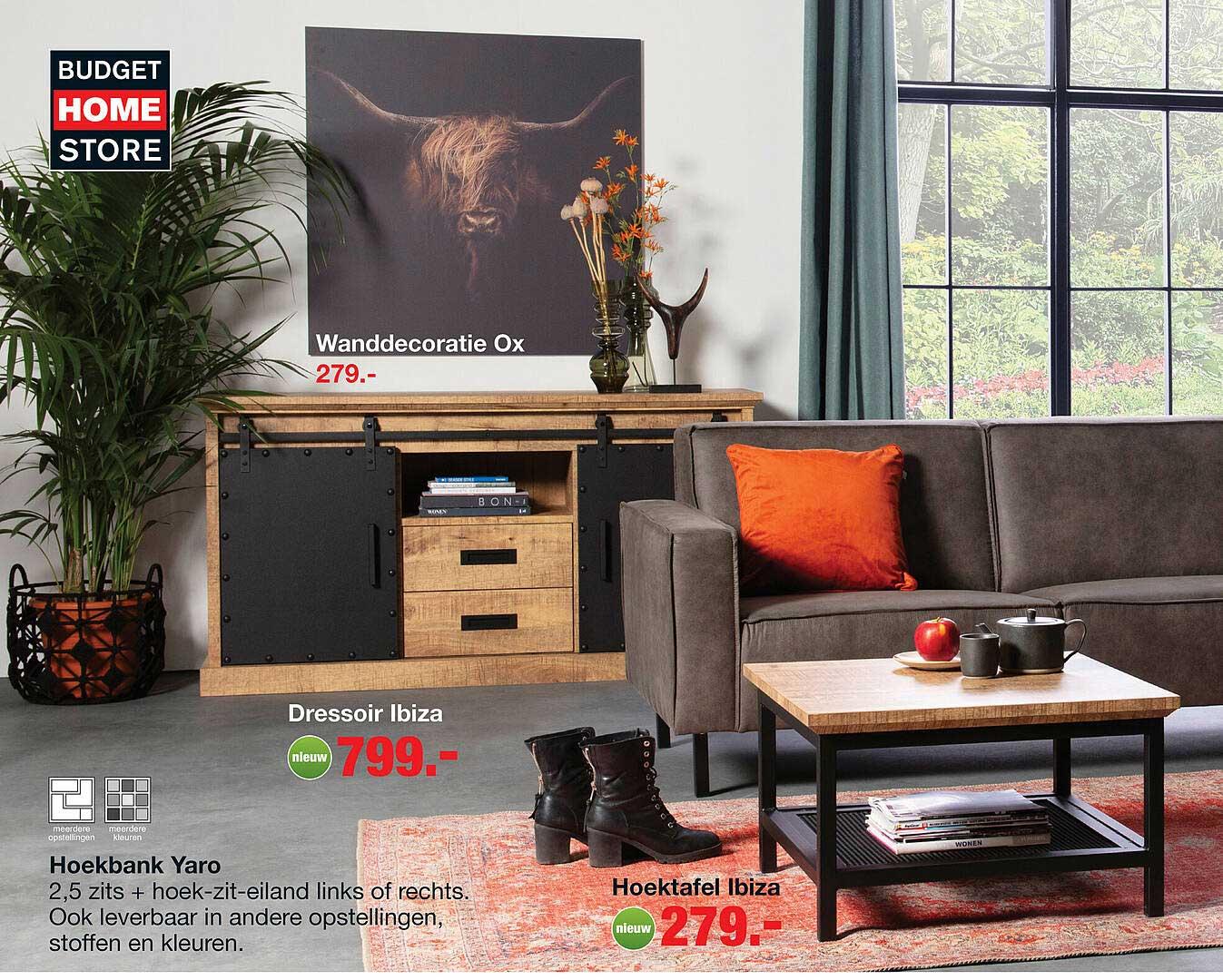 Budget Home Store Wanddecoratie Ox, Dressoir Ibiza, Hoekbank Yaro Of Hoektafel Ibiza