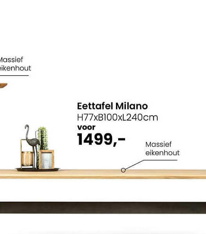 De Bommel Meubelen Eettafel Milano H77xB100xL240cm