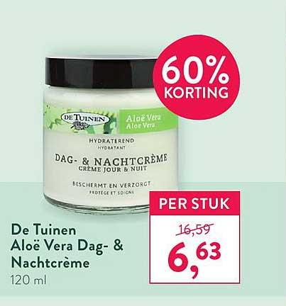 Holland & Barrett De Tuinen Aloe Vera Dag- & Nachtcreme 60% Korting