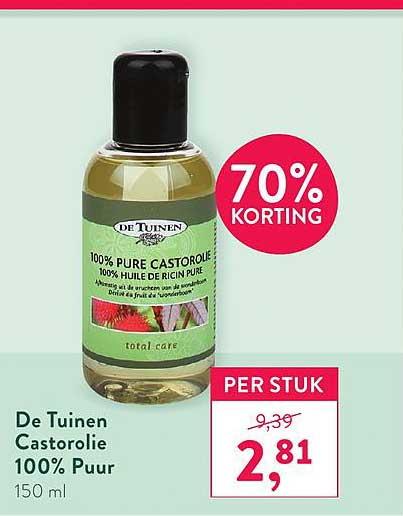 Holland & Barrett De Tuinen Castorolie 100% Puur 70% Korting