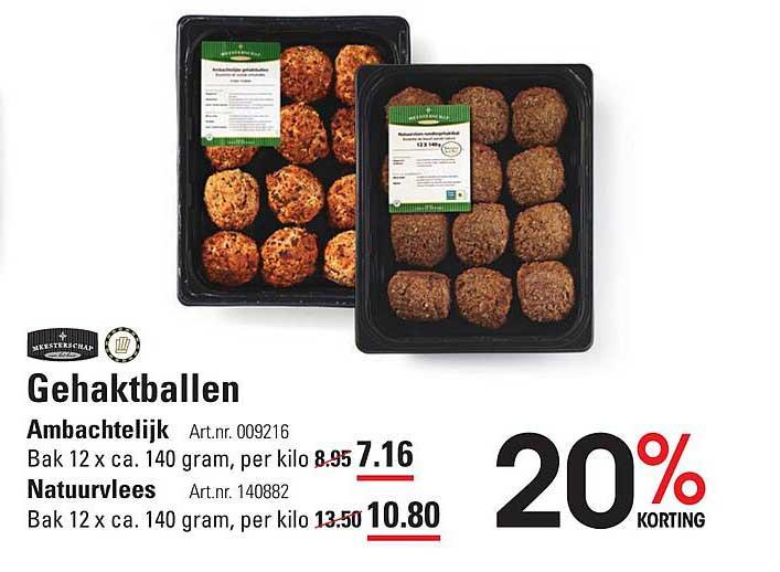 Sligro Gehaktballen Ambachtelijk Of Natuurvlees 20% Korting