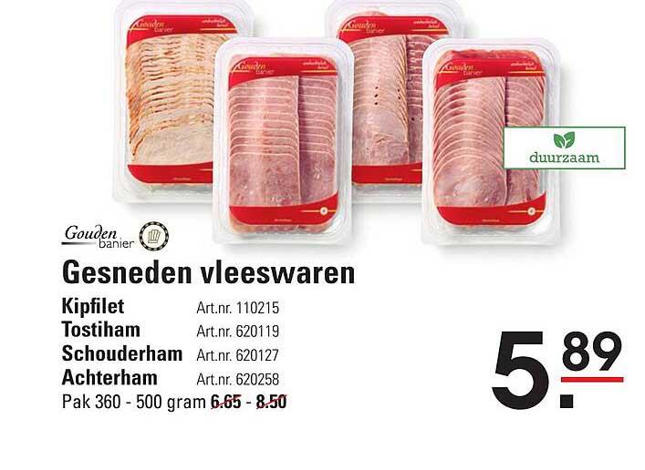 Sligro Gouden Banier Gesneden Vleeswaren Kipfilet, Tostiham, Schouderham Of Achterham