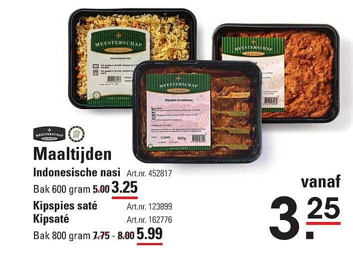 Sligro Maaltijden Indonesische Nasi, Kipspies Saté Of Kipsaté