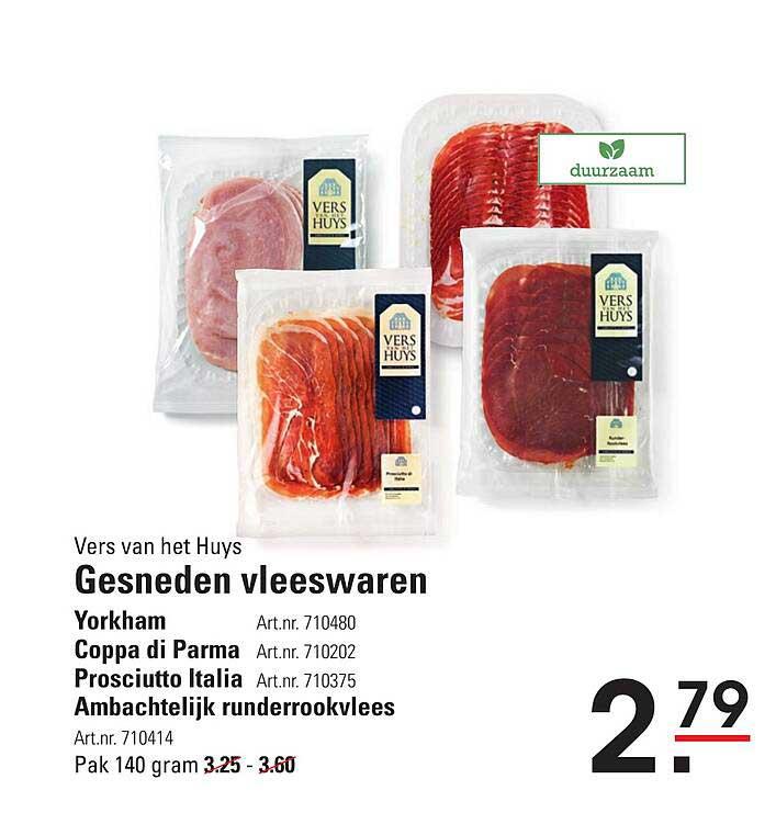 Sligro Vers Van Het Huys Gesneden Vleeswaren Yorkham, Coppa Di Parma, Prosciutto Italia Of Ambachtelijk Runderrookvlees