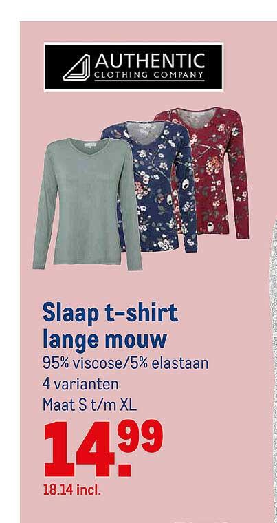 Makro Authentic Clothing Company Slaap T-Shirt Lange Mouw