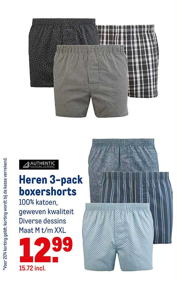 Makro Authentic Heren 3-Pack Boxershorts