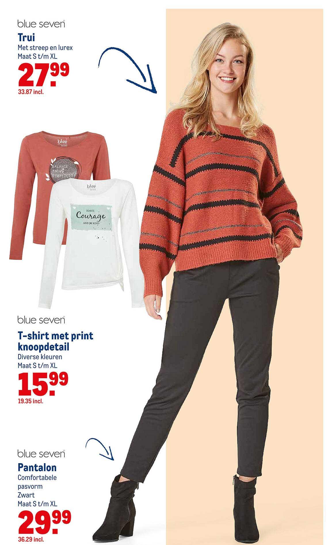 Makro Blue Seven Trui, T-Shirt Met Print Knoopdetail Of Pantalon