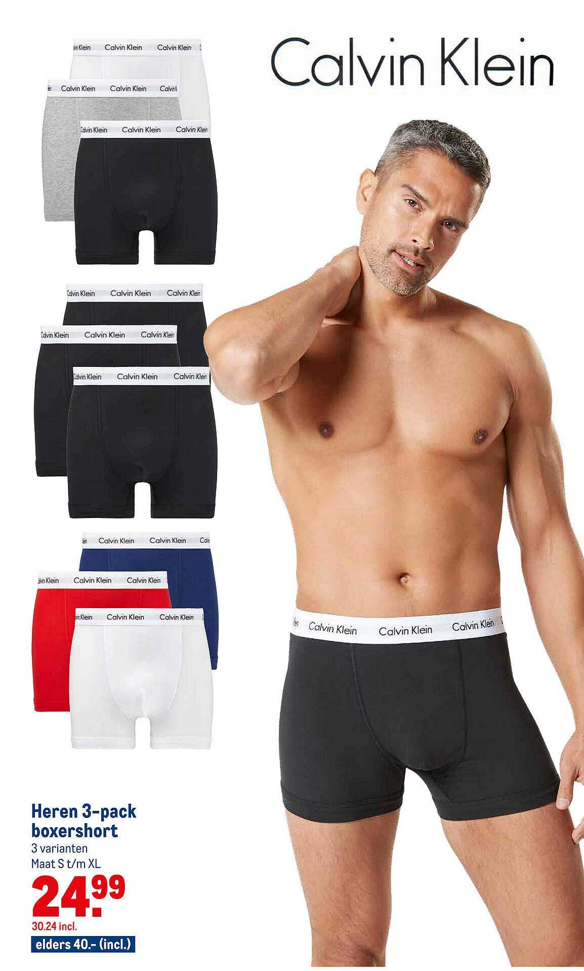 Makro Calvin Klein Heren 3-Pack Boxershort