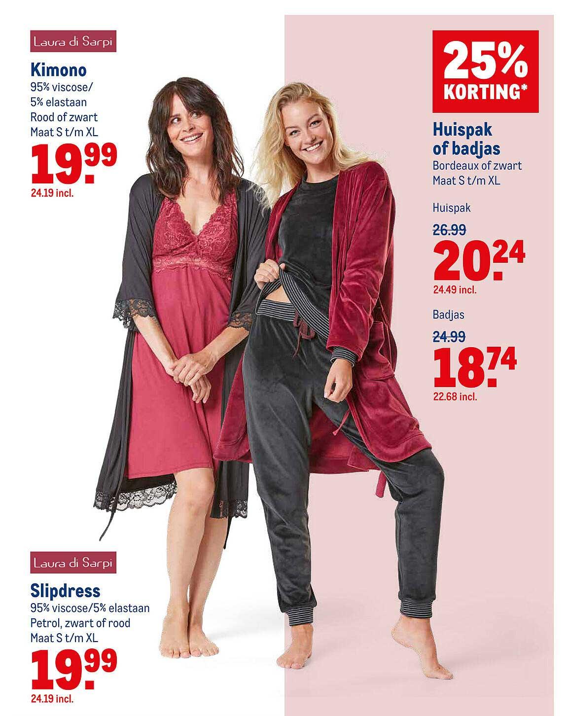 Makro Laura Di Sarpi Kimono Of Slipdress Of Huispak Of Badjas 25% Korting