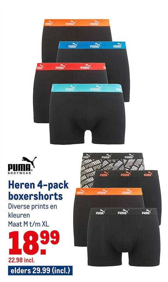 Makro Puma Heren 4-Pack Boxershorts