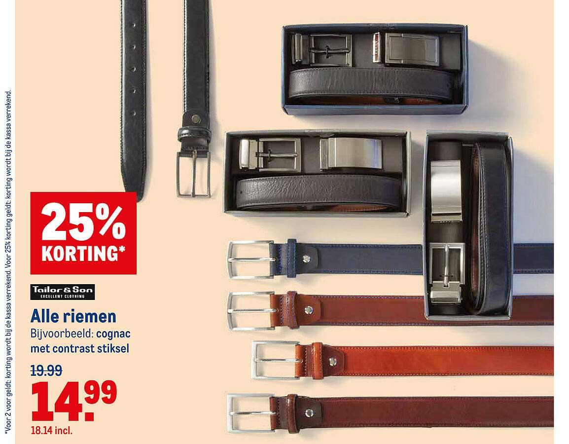 Makro Tailor & Son Alle Riemen 25% Korting