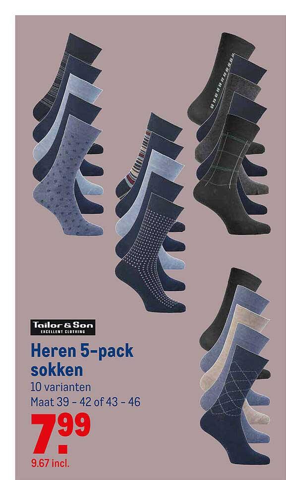 Makro Tailor & Son Heren 5-Pack Sokken