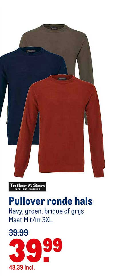 Makro Tailor & Son Pullover Ronde Hals
