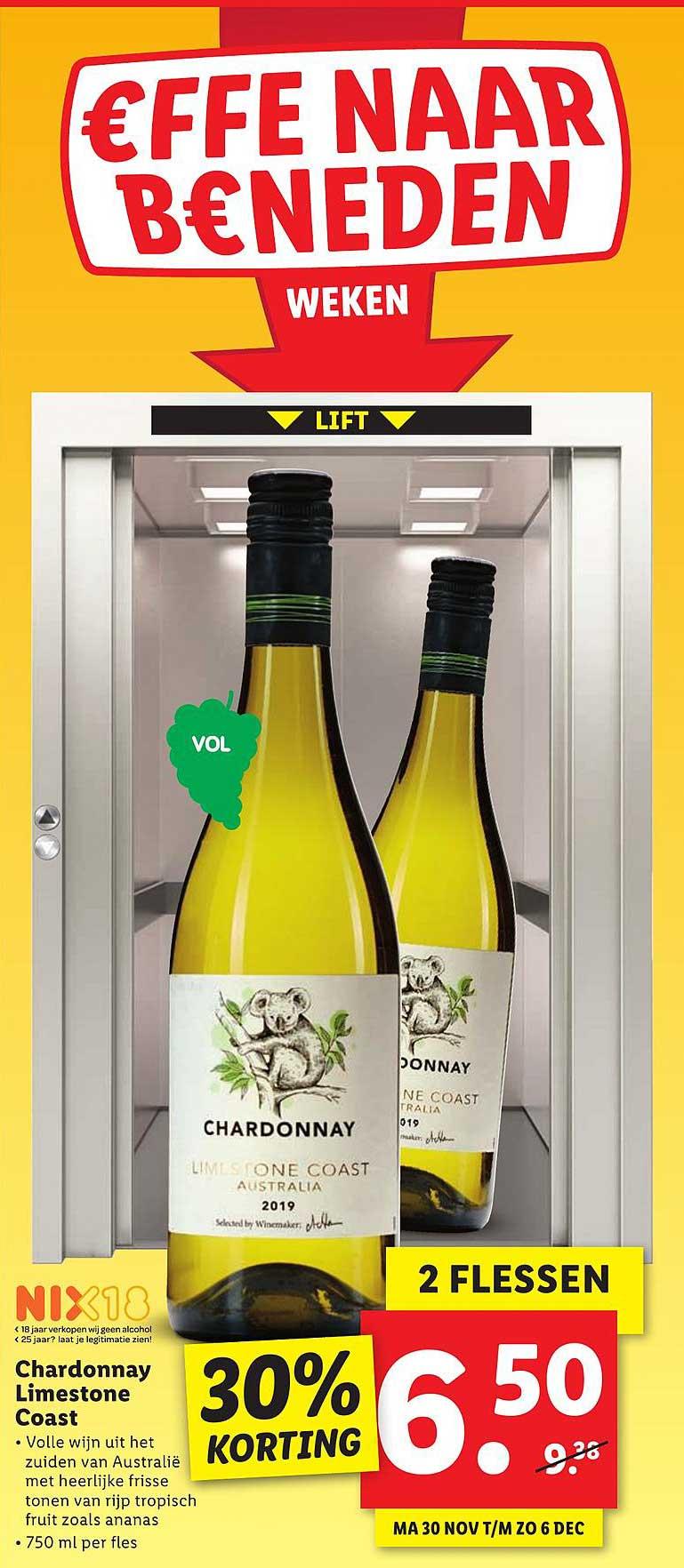 Lidl Chardonnay Limestone Coast 30% Korting