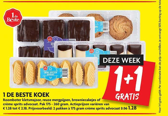 DekaMarkt 1 De Beste Koek Roomboter Kletsmajoor, Reuze Mergpijpen, Browniecakejes Of Crème Sprits Advocaat 1+1 Gratis
